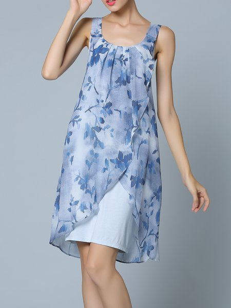 Sleeveless Floral Casual Midi Dress