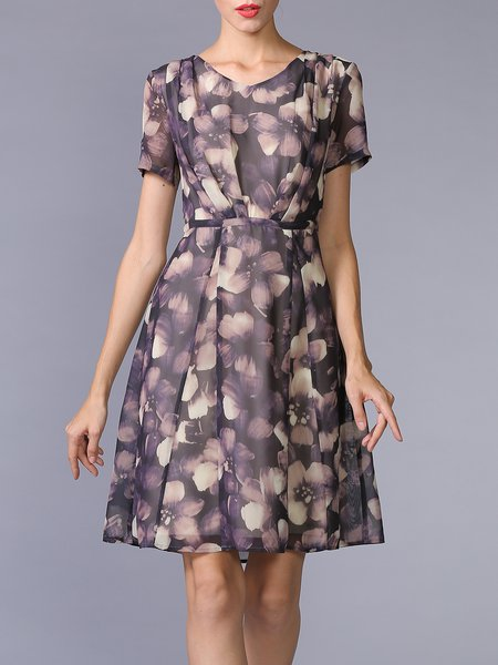 Multicolor Chiffon Short Sleeve V Neck Floral-print Midi Dress