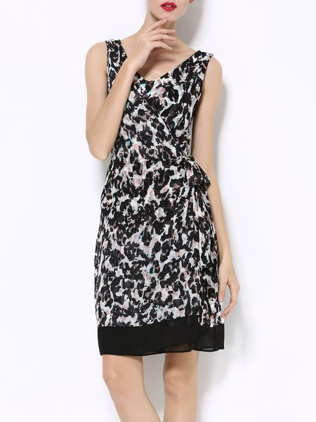 Sleeveless Printed Chiffon Casual V Neck Midi Dress