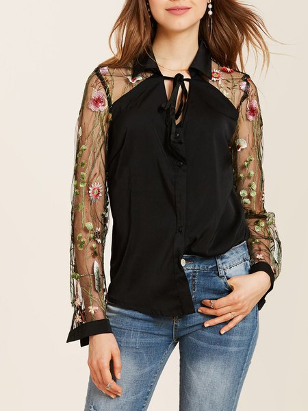 Black Floral-embroidered Polyester Long Sleeve Blouse