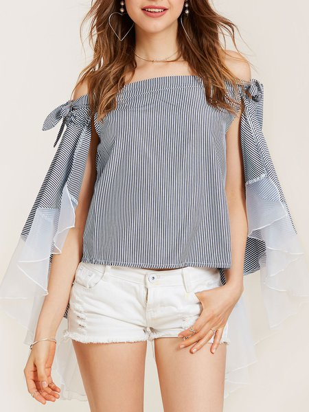 Black-white Cape Sleeve Off Shoulder Stripes Top