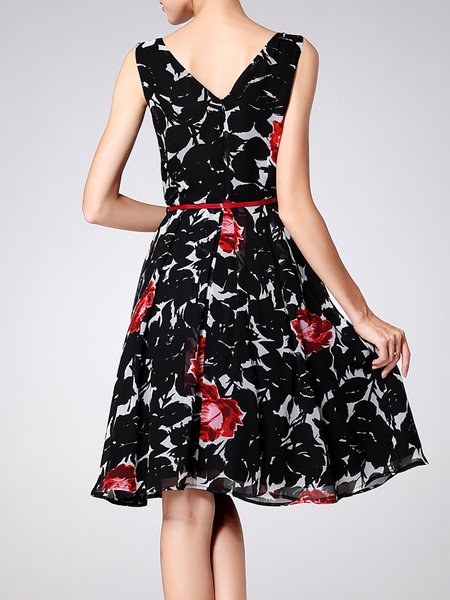 Sleeveless Chiffon Crew Neck A-line Casual Midi Dress - StyleWe.com