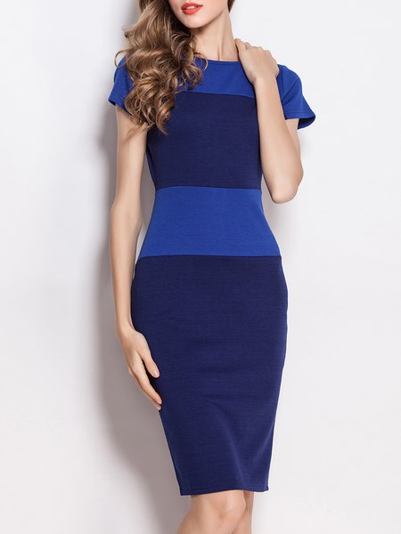 Cotton-blend Elegant Short Sleeve Color-block Crew Neck Work Dress