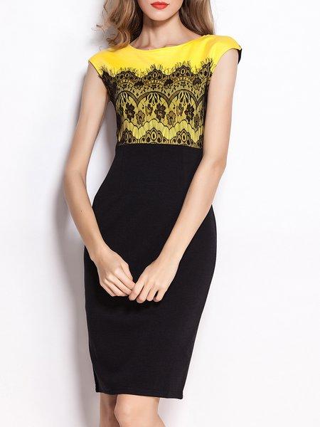 Short Sleeve Crew Neck Elegant Lace Paneled Midi Dress