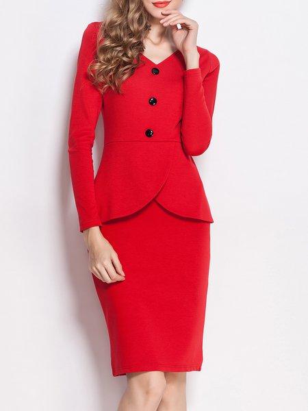 Red Bodycon V Neck Elegant Solid Midi Dress