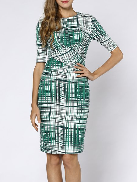 Green Geometric 3/4 Sleeve Midi Dress