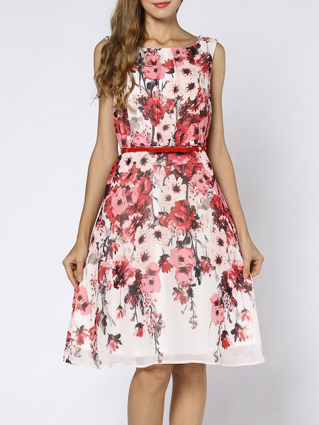 Multicolor  A-line Sleeveless Floral Midi Dress