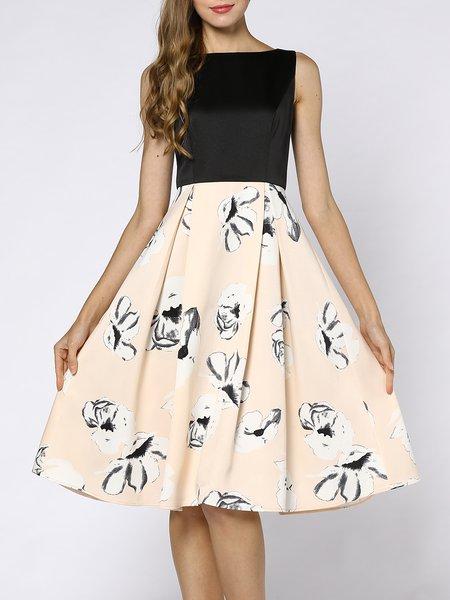 Casual Folds Floral Sleeveless Midi Dress
