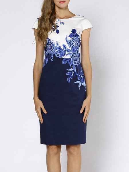 Blue Short Sleeve Floral Paneled Crew Neck Midi Dress