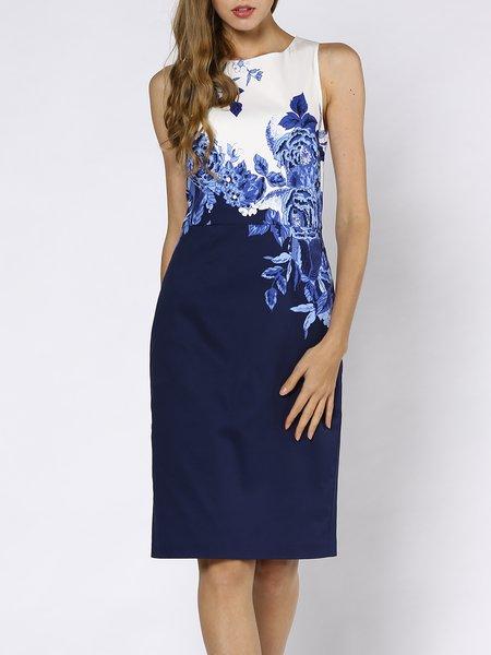 Blue Crew Neck Floral Sleeveless Midi Dress