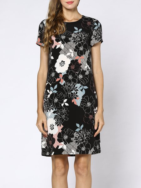 Black Floral Casual A-line Crew Neck Midi Dress