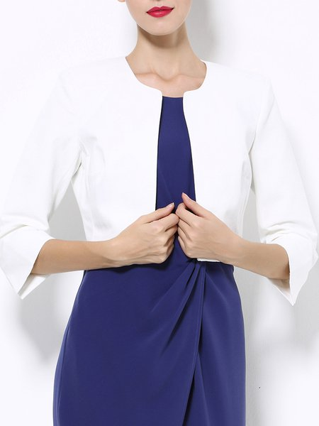 Cotton-blend 3/4 Sleeve Simple Cropped Jacket