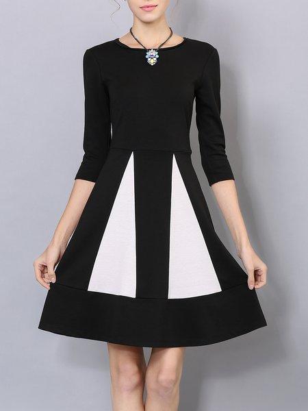 Elegant Geometric 3/4 Sleeve Color-block Midi Dress