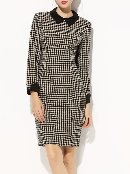 Houndstooth Elegant Long Sleeve Paneled Midi Dress