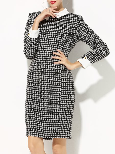 Black Sheath Elegant Houndstooth Midi Dress