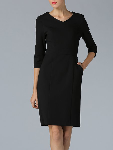 Black V Neck Casual Bodycon Cotton-blend Midi Dress