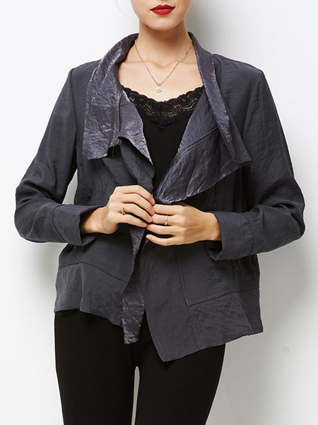 Black Solid Casual Pockets Coat