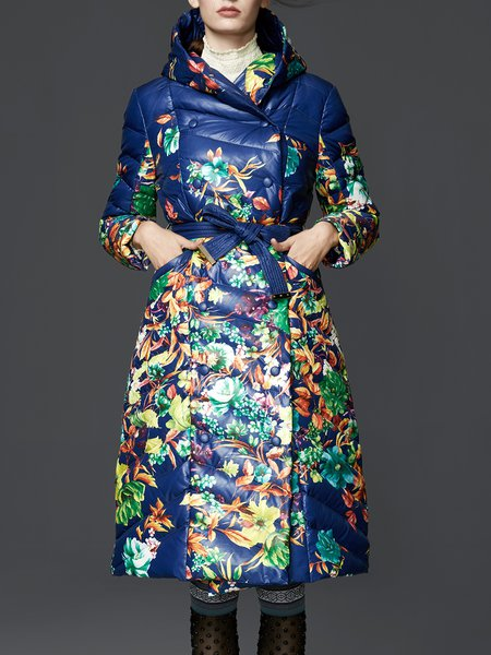 Blue Hoodie Long Sleeve Buttoned Floral Coat With Belt
