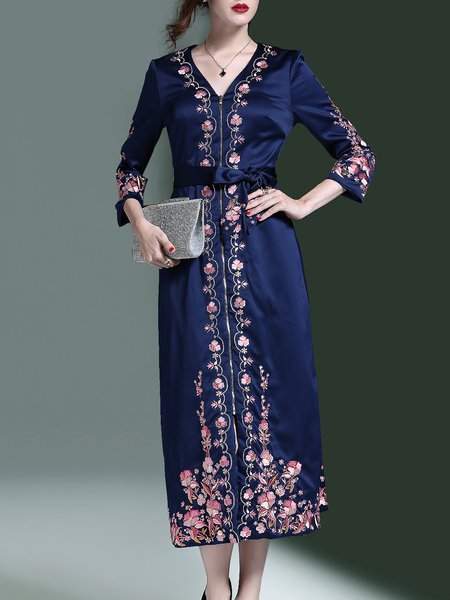 Blue Zipper Elegant Embroidered Midi Dress