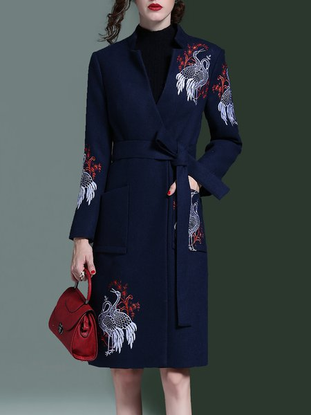 Embroidered Wool Blend Long Sleeve Pockets Coat