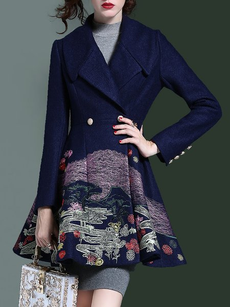 Dark Blue A-line Long Sleeve Lapel Embroidered Coat