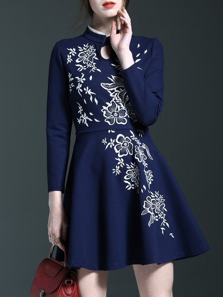 Navy Blue Floral-embroidered Casual Ruffled Midi Dress