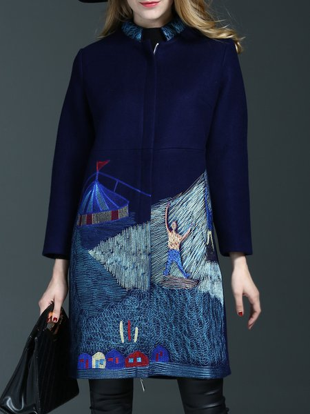 Navy Blue  Wool Blend H-line Embroidered Coat