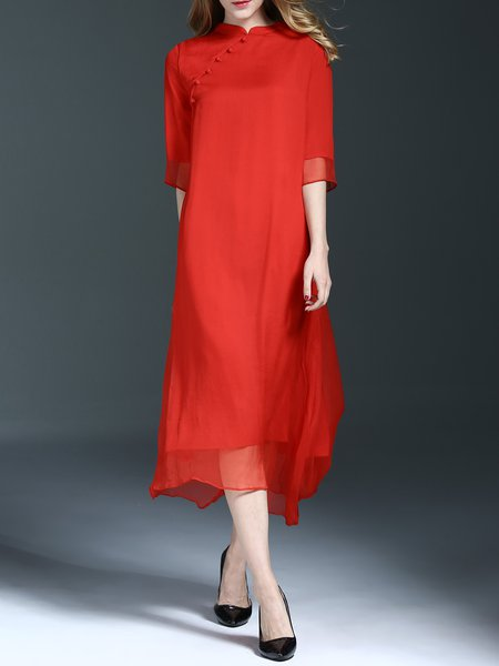 Red Vintage Stand Collar Silk Midi Dress