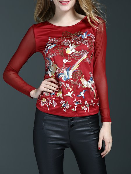 Red Embroidered Casual Crew Neck Long Sleeved Top