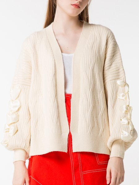 Girly Balloon Sleeve Solid Cotton Cardigan