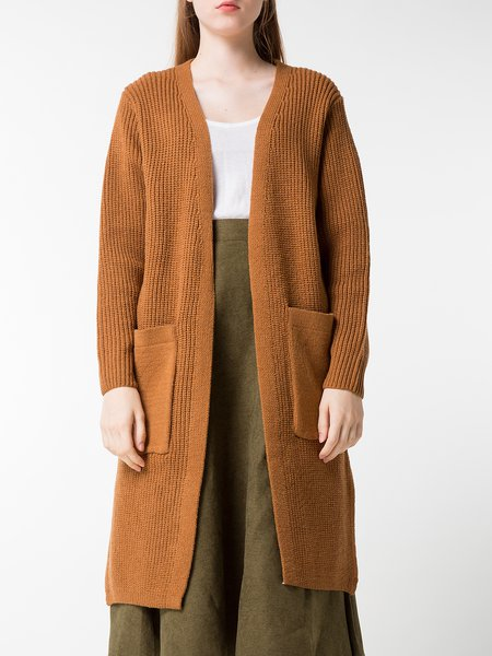 Brown Solid Wool Blend Long Sleeve Cardigan