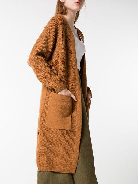 Brown Solid Wool Blend Long Sleeve Cardigan - StyleWe.com