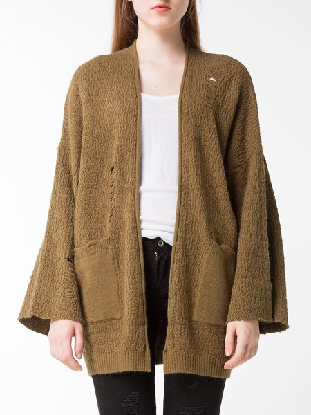 Army Green Solid Bell Sleeve Cardigan