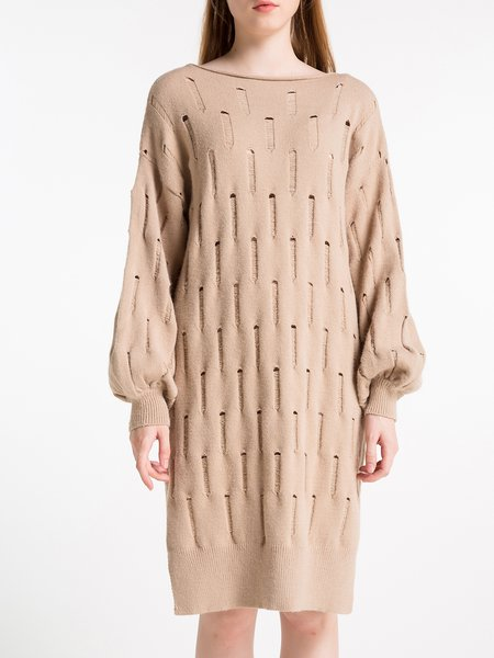 Casual Bateau/boat Neck Balloon Sleeve Sweater Dress
