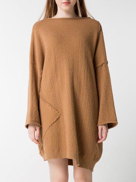 Casual Slash Neck Long Sleeve  Asymmetrical Sweater Dress