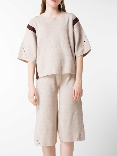 Casual Wool Blend Half Sleeve Solid Top With Pants