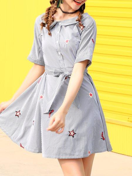 Blue Stripes Short Sleeve Crew Neck A-line Midi Dress