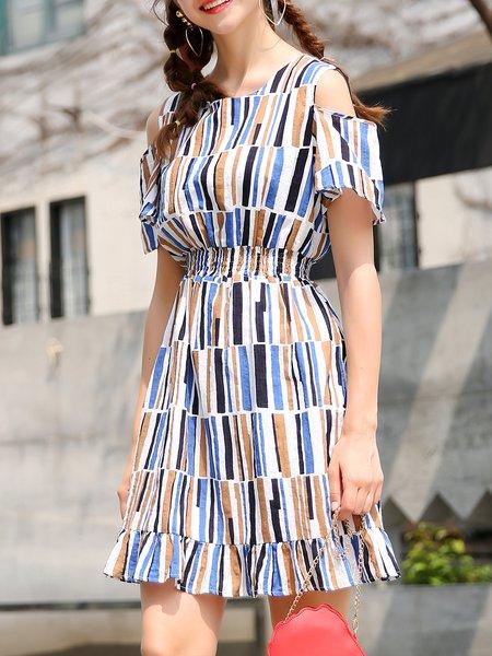 Multicolor Cold Shoulder Cold Shoulder Midi Dress