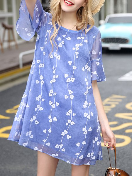 Girly Polyester Printed Shift Bell Sleeve Midi Dress