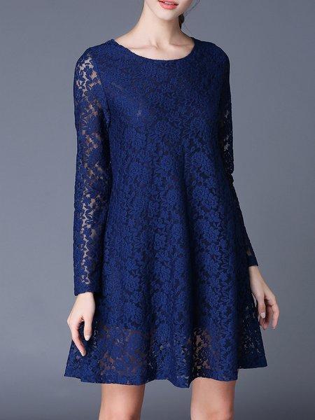 Long Sleeve Guipure Lace Midi Dress