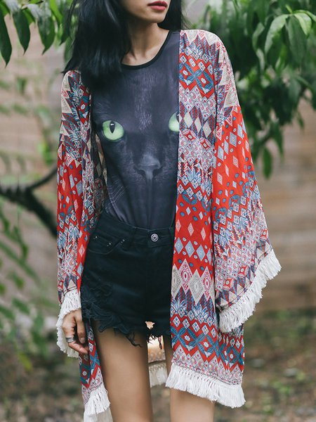 Multicolor Printed Fringed Long Sleeve Coat