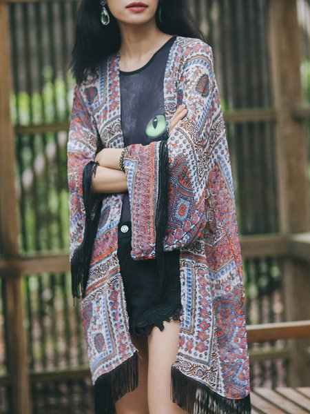 Multicolor Printed Polyester H-line Fringed Coat