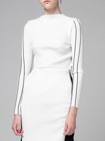 White Turtleneck Knitted Long Sleeve Plain Sweater
