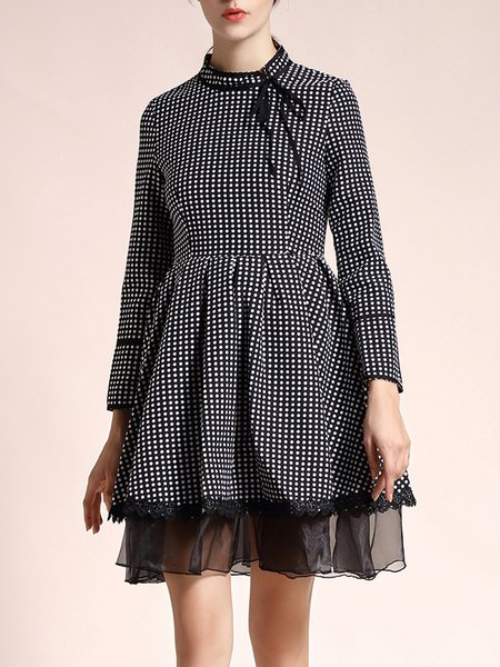 Black Polka Dots Elegant Bow Cotton Mini Dress