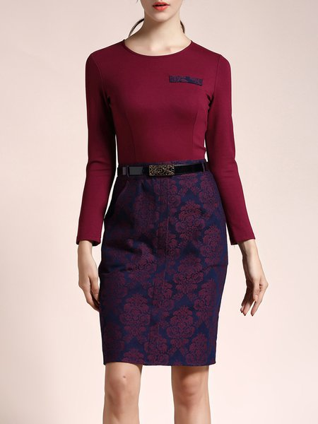 Jacquard Elegant Long Sleeve Plain Crew Neck Midi Dress With Belt