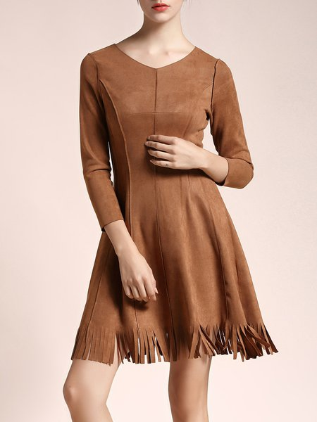Camel A-line Cotton-blend Long Sleeve Fringed Midi Dress