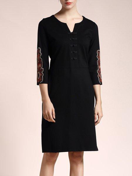 Keyhole Tribal Cotton-blend Vintage 3/4 Sleeve Midi Dress