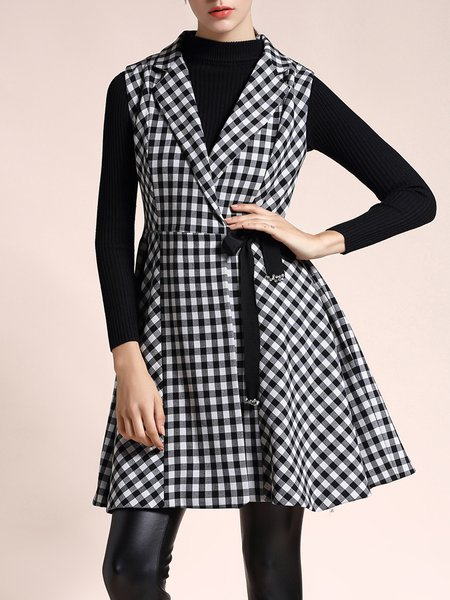 Casual Cotton-blend Checkered/Plaid Lapel Two Piece Coat