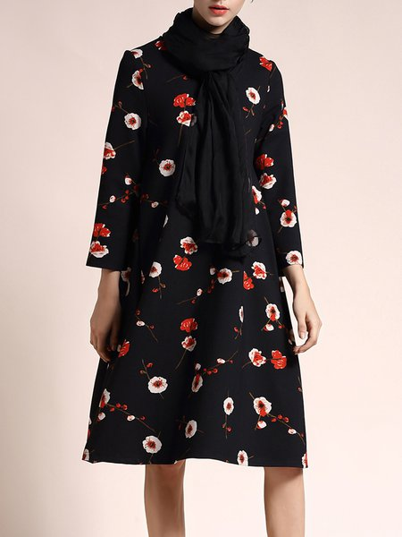 Floral Swing Casual Long Sleeve Midi Dress With Scarf