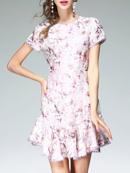Multicolor Crew Neck Polyandrum Casual Floral Mini Dress